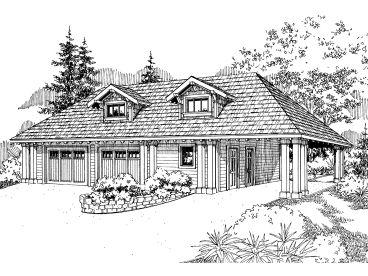 Garage Plan with Carport, 051G-0030