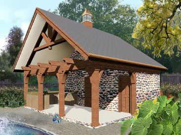 Plan 006p 0025 garage plans and garage blue prints from for Pool house plans with garage