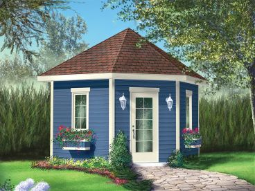 Backyard Garden Shed Plan, 072S-0017