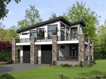 Modern Garage Apartment Plan, 062G-0101