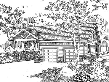 Garage Plan with Carport, 051G-0021