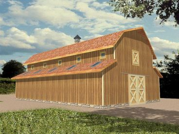 Outbuilding Plans Horse Barn Plan With Hay Loft And Storage Design 012b 0002 At
