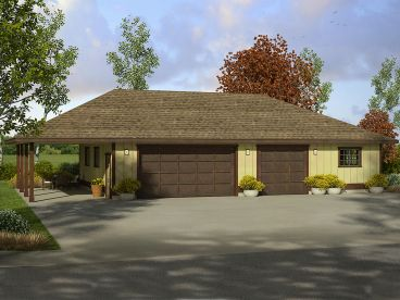 Garage Plan with Carport, 051G-0084