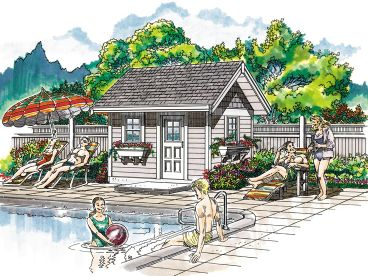 Pool House Plan, 033P-0001