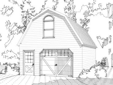 1-Car Garage Plan with Gambrel Roof, 073G-0005