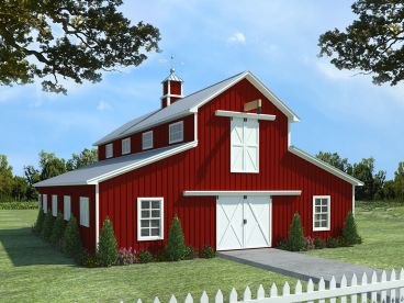 Barn Plan with Apartment, 001B-0001