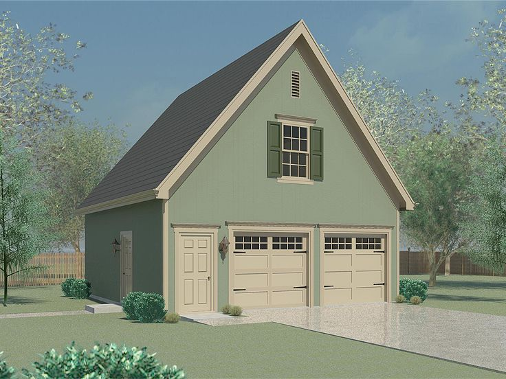 Garage storage plans two car garage plan with storage for Two storage house designs