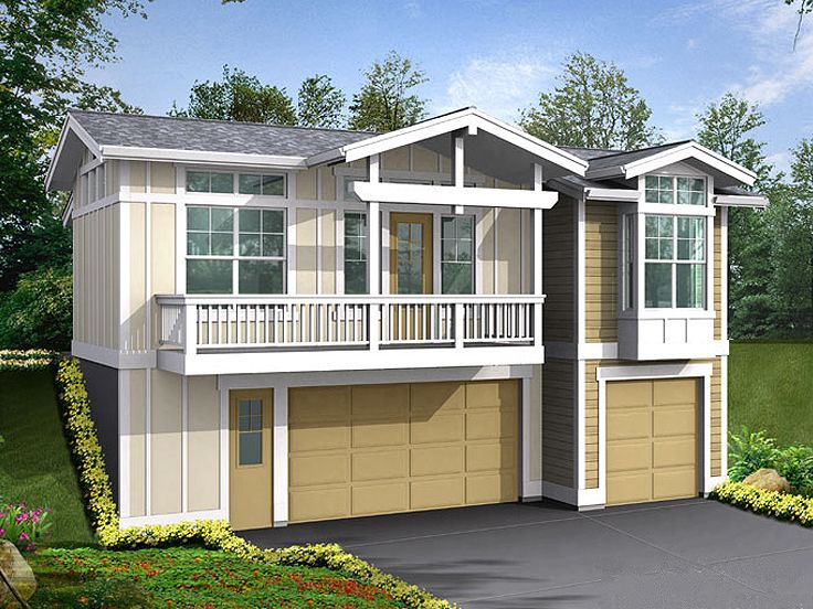 Three-Car Garage Apartment Plan