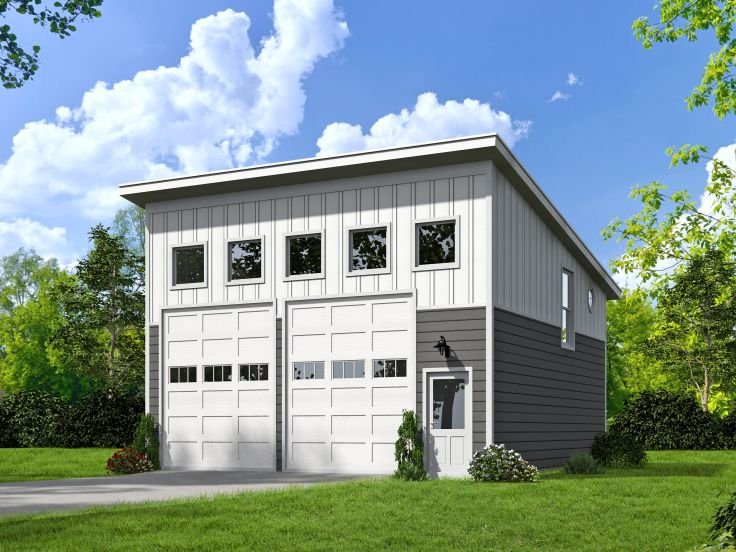 Two car garage plans unique 2 car garage plan with loft for Contemporary garage apartment plans