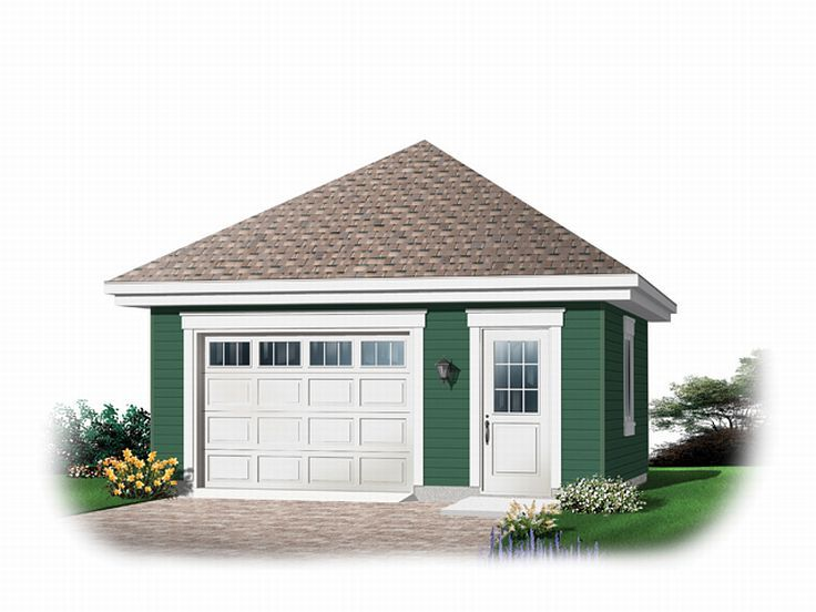 1 car garage plans detached one car garage plan with hip for Oversized one car garage