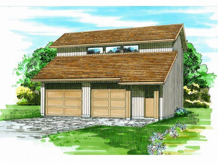 Garage plans with loft contemporary two car garage loft for Modern garage plans with loft