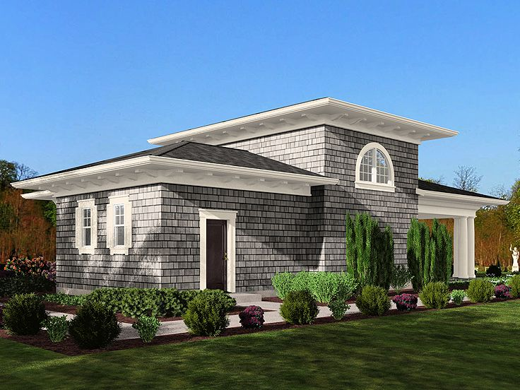 Pool house plans pool cabana with covered patio and for Patio home plans with rear garage