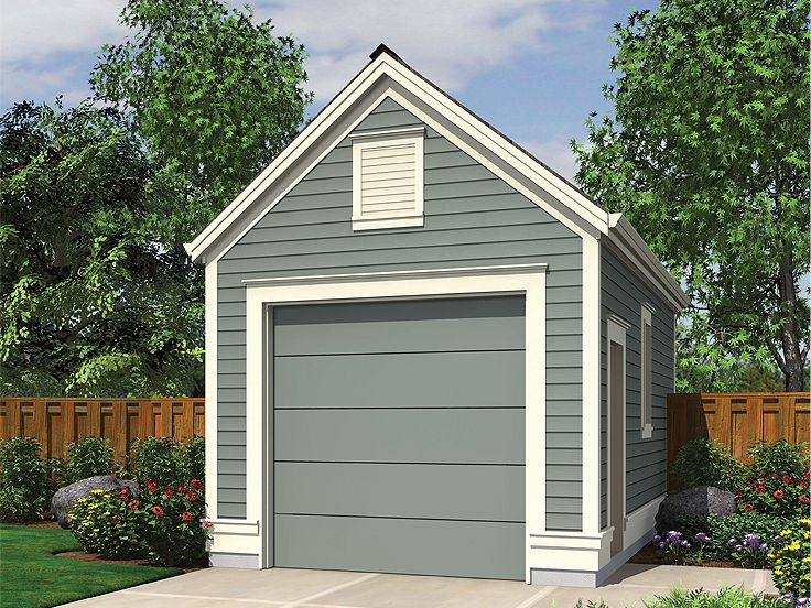 One car garage plans detached 1 car garage plan 034g for Single car garage with apartment