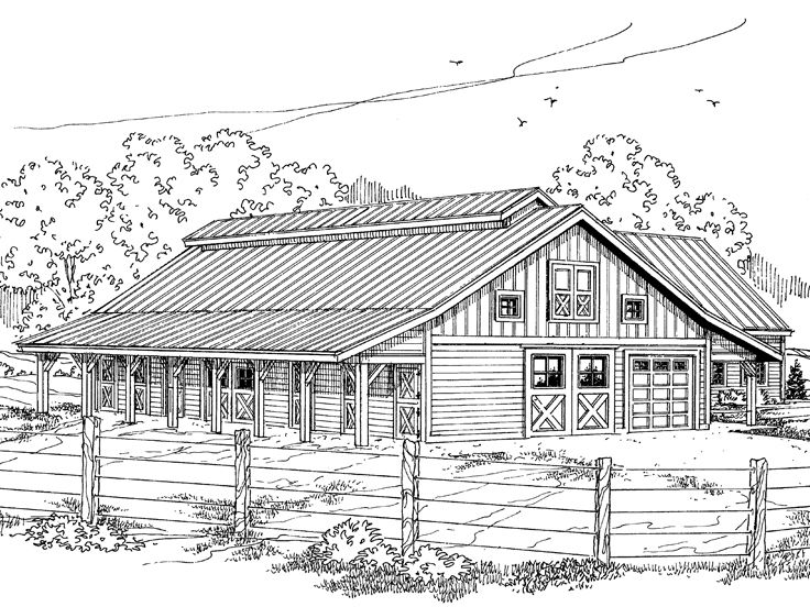 Horse barn drawing images galleries for Equestrian barn plans