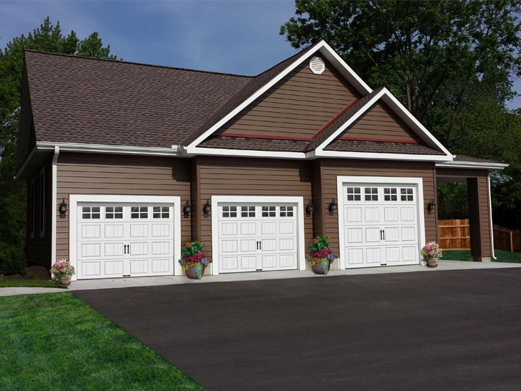 3-Car Garage Plan with Carport, 009G-0005