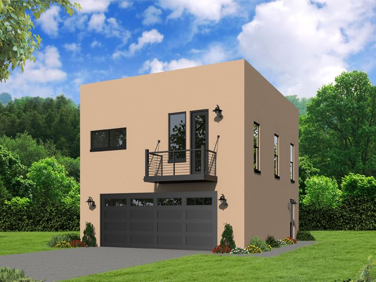 Modern Garage Apartment Plan, 062G-0116