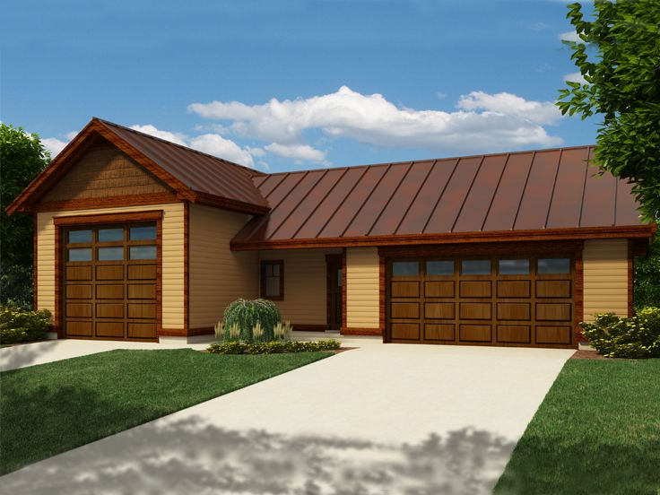 Rv garage plans rv garage plan with 2 car garage and for How large is a 2 car garage