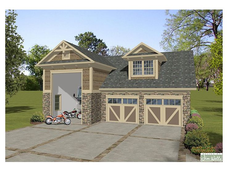 Rv garage plan rv garage with carriage house design for Shop with apartment