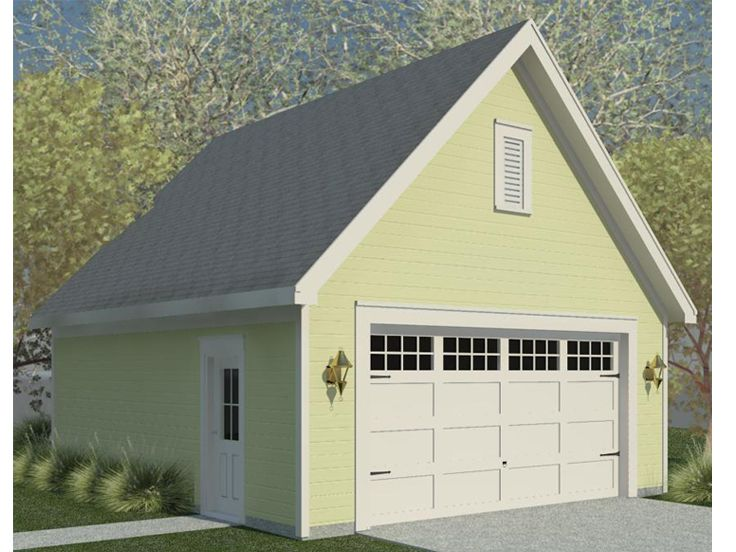 2 car garage plans double garage plan with front facing for Gable roof garage