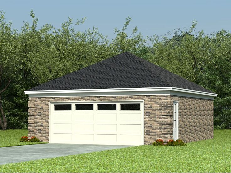 2 car garage plans two car garage plan with hip roof for Hip roof garage plans
