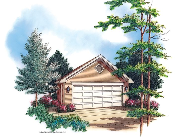 2 car garage plans traditional two car garage plan with for Reverse gable garage