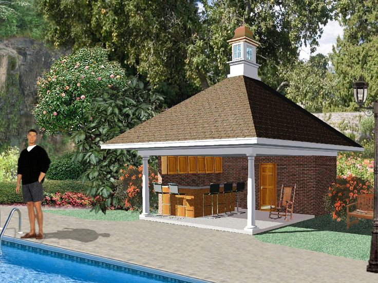Plan 006p 0002 garage plans and garage blue prints from for Small pool house with bathroom