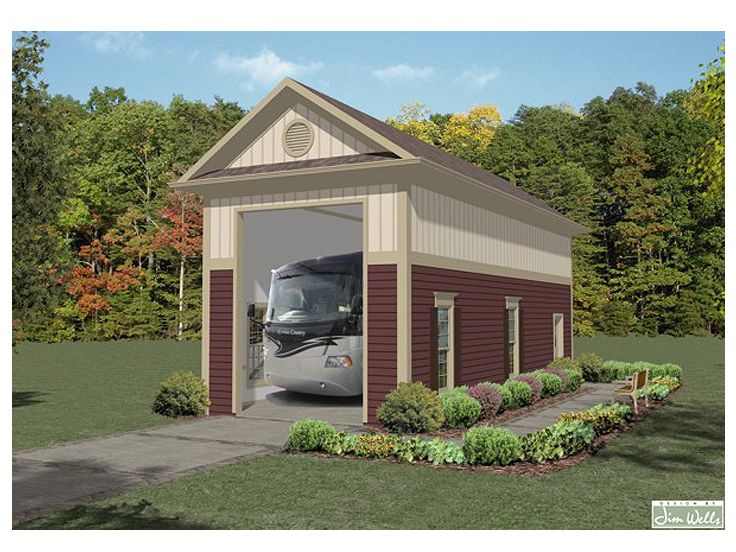 Rv garage plans detached rv garage plan single bay for Cool house plans garage