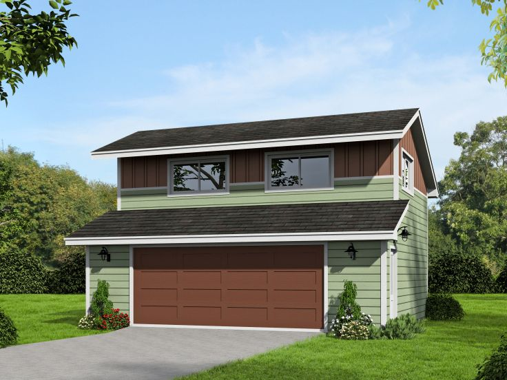 Garage plans with loft two car garage loft plan 062g for Oversized one car garage