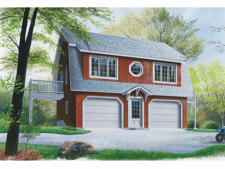 Garage Apartment Plans  2-Car Carriage House Plan with Gambrel Roof ...
