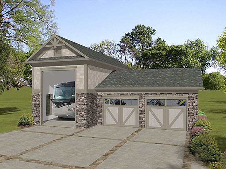 Rv garage plans rv garage plan with attached 2 car for Carport shop combo