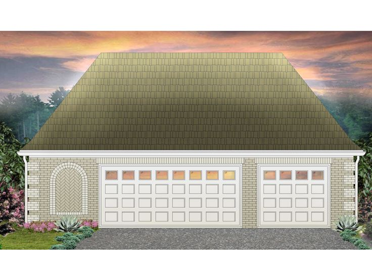 Three-Car Garage Plan, 006G-0053