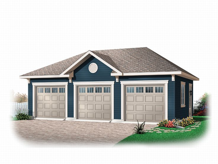 Three car garage plans traditional 3 car garage plan for Three car detached garage plans