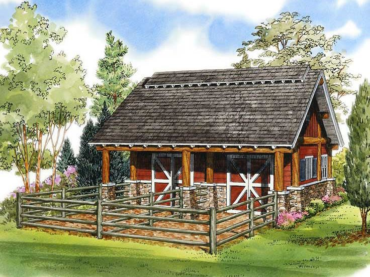 Plan 066b 0002 garage plans and garage blue prints from for Horse barn plan