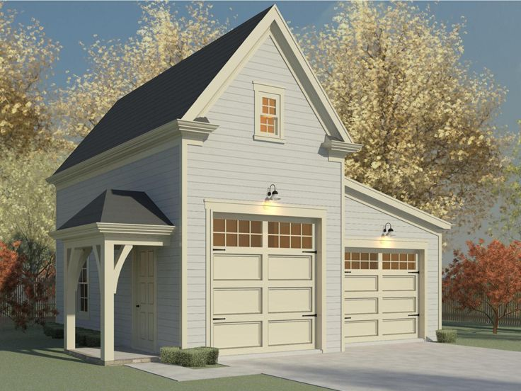 Rv garage plans rv garage plan with attached 1 car for Rv garage plans with living space