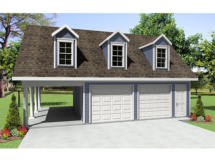 Garage plans with carport 2 car garage plan with carport for Single car garage with apartment above plans