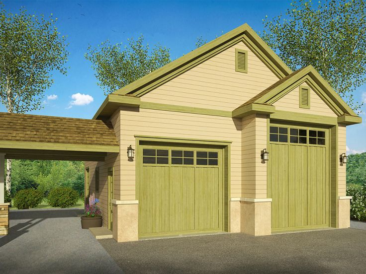 RV Garage Plans | RV Garage Plan with Second Bay for Boat Storage # 051G-0080 at www ...