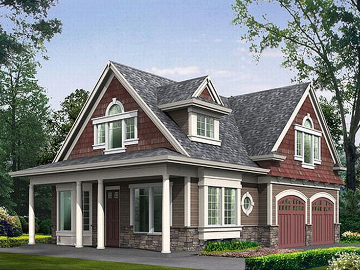 Garage Apartment Plans | Craftsman-style 2-Car Garage Apartment Plan Design # 035G-0004 at www ...