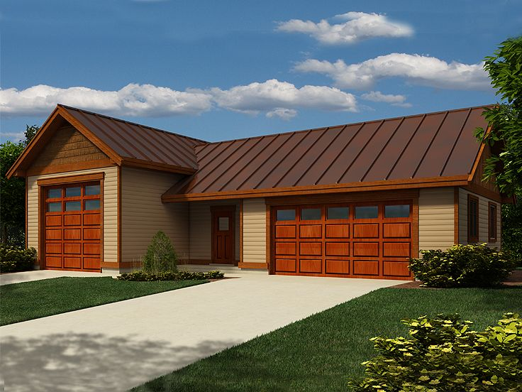 Rv garage plans rv garage plan with 2 car garage and for Two car garage with workshop plans