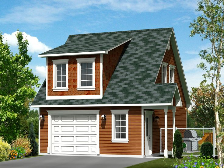 Garage apartment plans 1 car garage apartment plan with for Small house over garage plans
