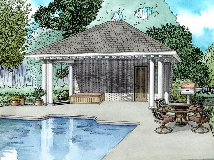 Pool House Plans | Pool House Plan With Equipment Storage And Bath