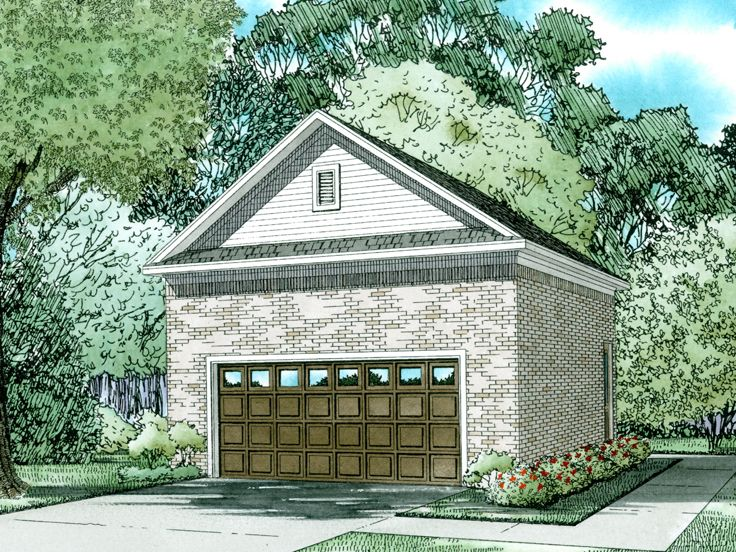 Two car garage plans 2 car garage plan with brick fa ade for Brick garage plans