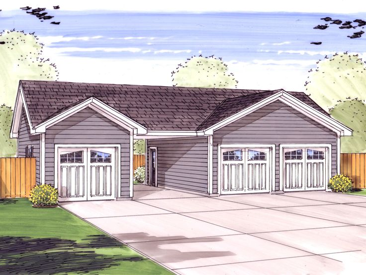 Garage Plan with Carport, 050G-0053