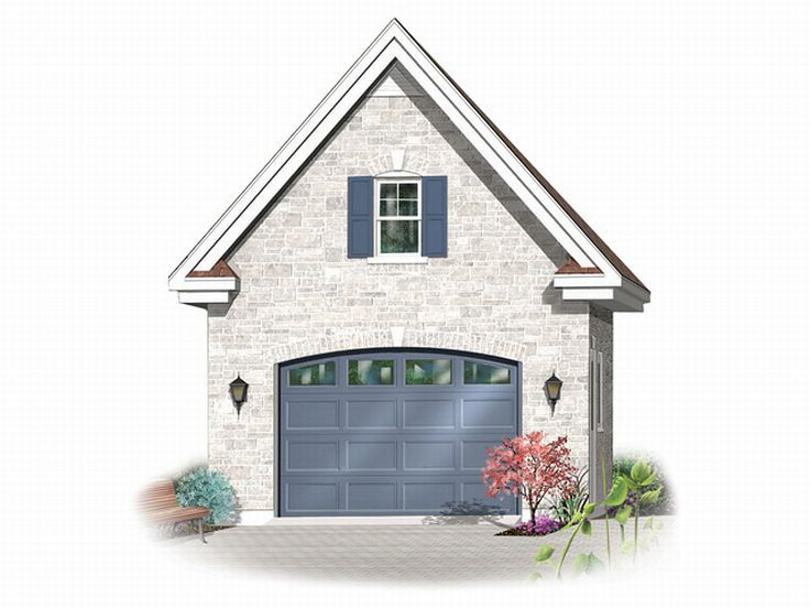 1 car garage plans detached one car garage plan with for Single car garage with apartment