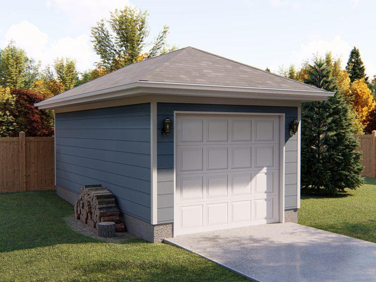 One Car Garage Plans Detached 1 Car Garage Plan With Hip Roof Design 050g 0011 At