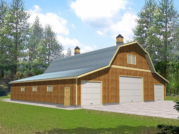 Outbuilding plans barn style outbuilding design 012b for Pole barn garage plans