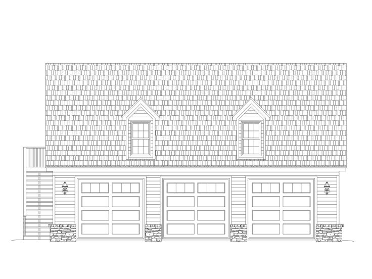 3-Car Garage with Loft, 006G-0145