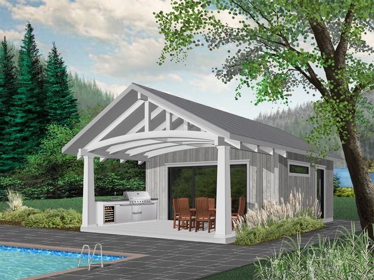 Plan 028p 0001 garage plans and garage blue prints from for Pool house designs with outdoor kitchen