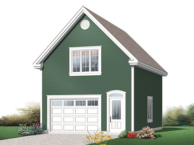 One car garage plans traditional 1 car garage plan with for Single car garage plans