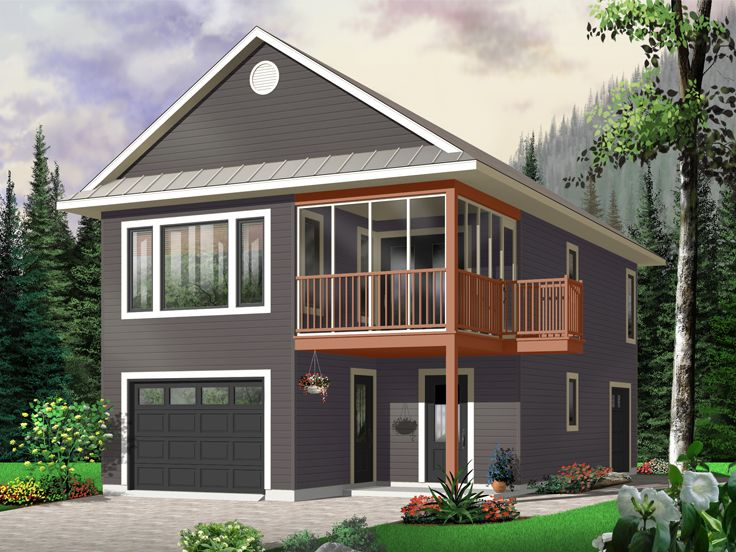 Garage apartment plans carriage house plan with tandem for One car garage kit with loft