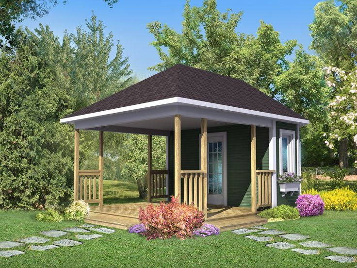 Backyard Shed Plan, 072S-0002 - Storage Shed Plans Backyard Storage Shed Plan With Covered Porch